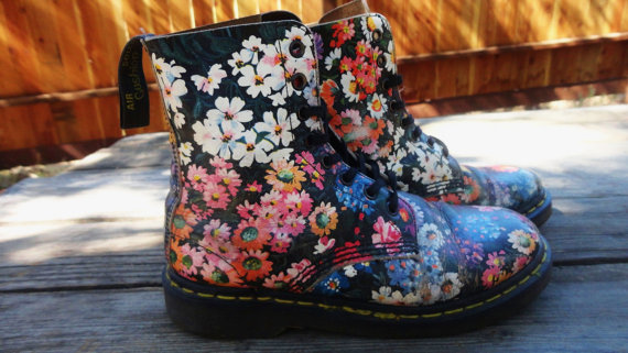 Floral Dr Martens size 7  7.5 by TheDocShop on Etsy