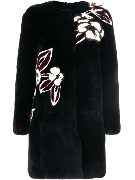 Yves Salomon coat fur women print black silk