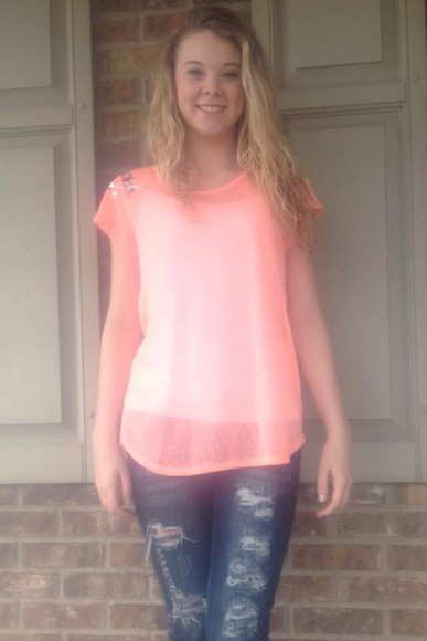 neon blouse neon blouse peach blouse embellished top spring trends 2014 clothing clothing boutique women's clothing boutique