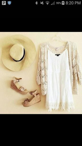 cardigan lace cardigan dress hat shoes