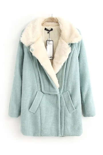 Berber Fleece Lining Loose Wool Coat [FEBK0393] - PersunMall.com