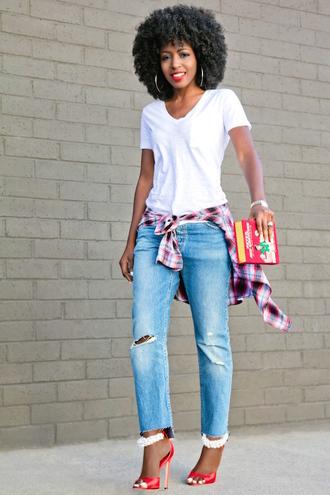 blogger t-shirt jeans shirt bag shoes