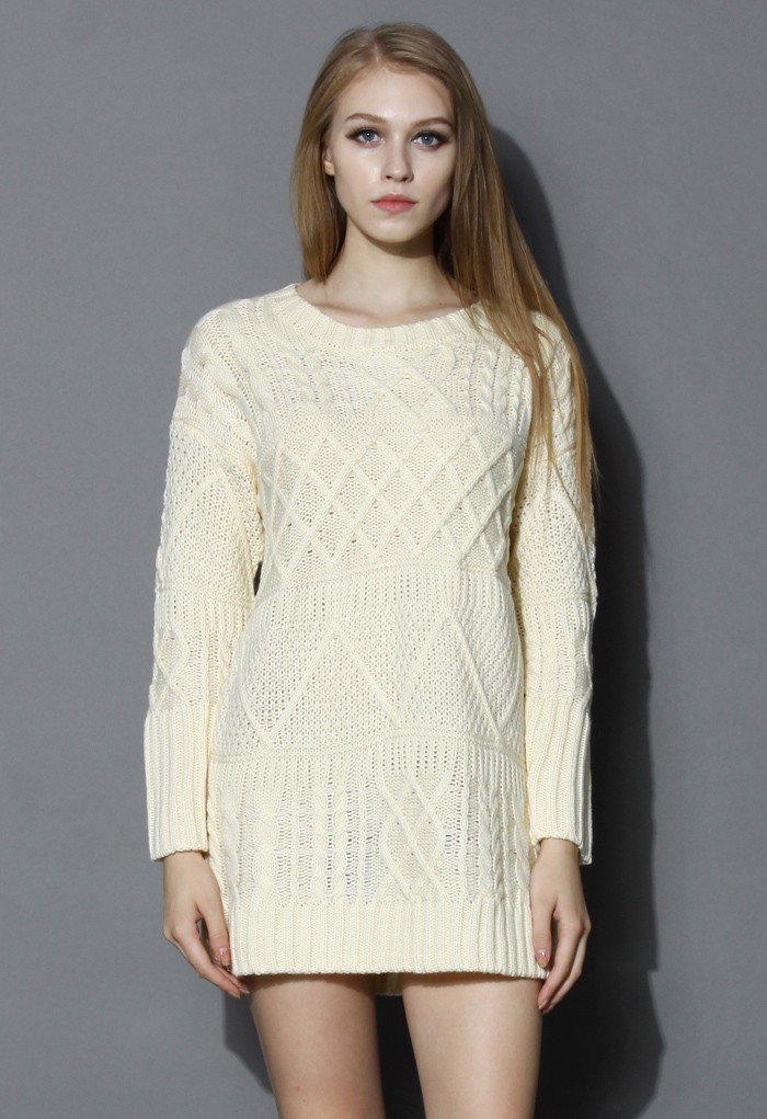 Cable Knit Sweater Dress in Beige - Retro, Indie and Unique Fashion