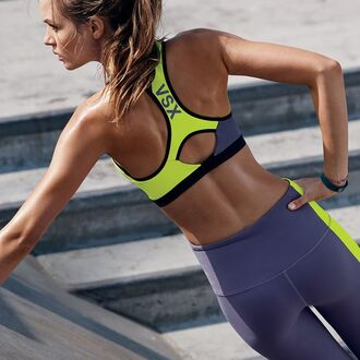 underwear victoria's secret neon neon yellow workout sports bra victoria's secret model sportswear