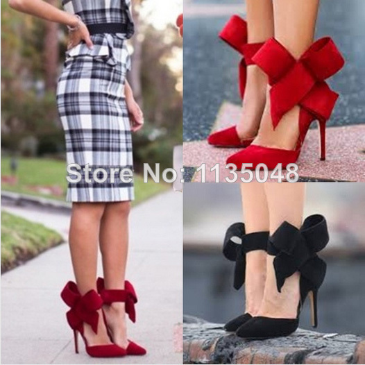 2014 spring summer low cut orange red suede leather pointed toe big bow tie high heel shoes luxurious dress pumps stiletto heel-in Pumps from Shoes on Aliexpress.com