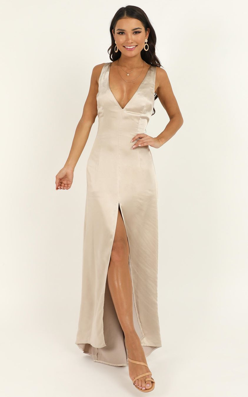 Showpo When The Lights Are Low Dress in champagne satin - 6 (XS)