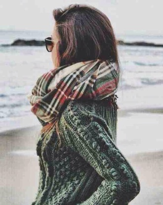 sweater jumper green grey gray knit knitwear weave woven bobble bonbles baubles bauble warm cozy fall outfits winter outfits beach tartan check flannel print pattern scarf tumblr teenagers cute cool