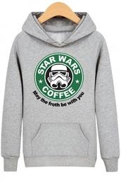 sweater,hoodie,grey,star wars,long sleeves,starbucks coffee,beautifulhalo