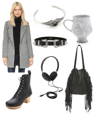 orchid grey blogger jacket shoes belt jewels