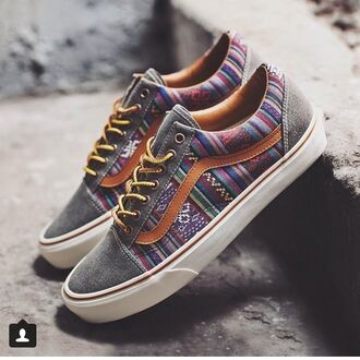 shoes vans multicolor sneakers striped shoes