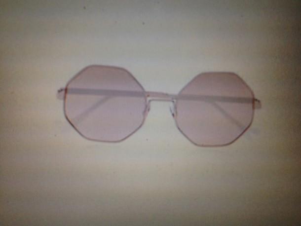 Sunglasses: glasses, frames, summer, eye, eyes, gold, pink ...