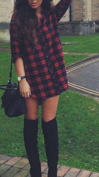 shirt blouse tartan tartan shirt red black checked shirt socks