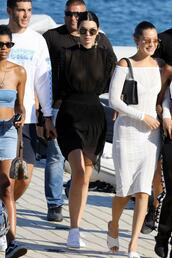 top,midi skirt,skirt,see through,kendall jenner,kardashians,model off-duty,sneakers,black,black dress