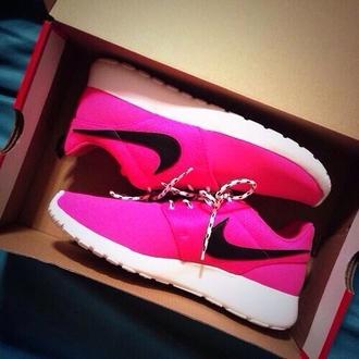 shoes nike pink nike roshe run roshe runs black white nikes neon
