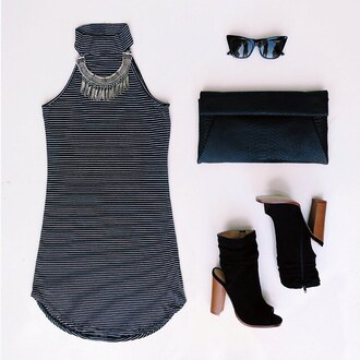 dress stripes bodcyon bodycon dress bodycon body ootd ootn brunch outfit idea outfit summer outfits summer dress casual dress booties clutch sunglasses gojane