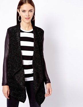 River Island   River Island Leather Look Sleeve Waterfall Coat at ASOS