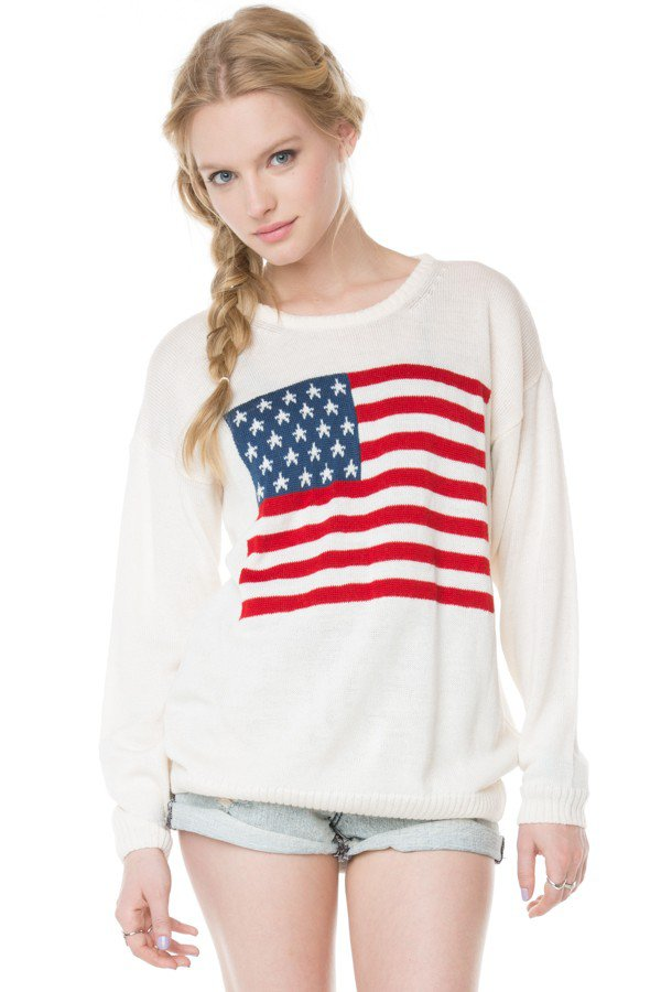 Brandy ♥ Melville |  Suzie American Flag Sweater - Clothing on Wanelo