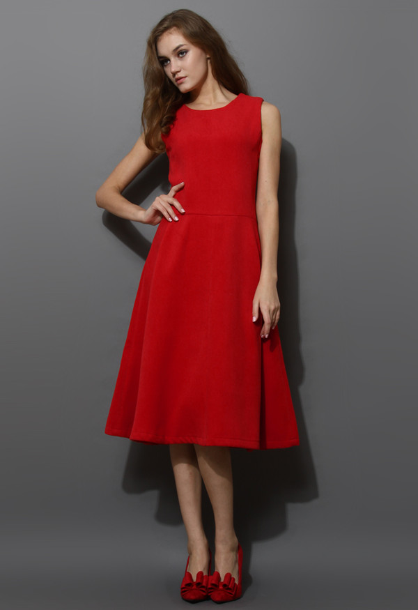 dress red wool-blend full midi a-line