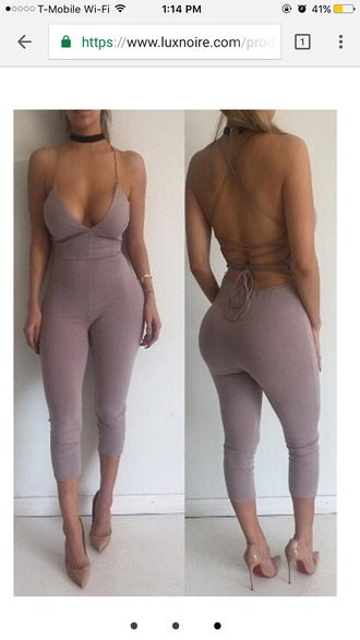 jumpsuit jumper one piece nude strappy sexy sexy outfit