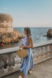 stephanie sterjovski - life + style,blogger,dress,jewels,shoes,bag,maxi dress,blue dress,sandals,basket bag