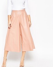pants,faux leather,culottes,blush pink,nude,wide-leg pants,cropped pants