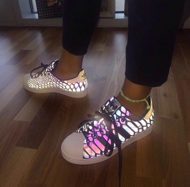 Shoes: adidas, glow in the dark, trainers, superstar, multicolor, white, multicolor sneakers ...