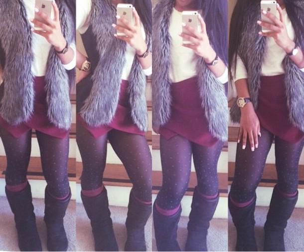 skirt asymmetric skirt faux fur vest stockings