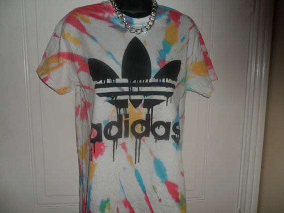 unisex customised acid wash tie dye adidas  t by mysticclothing