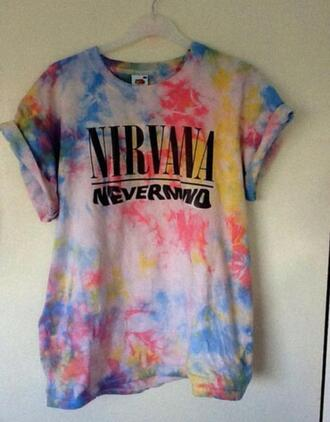 t-shirt nirvana color/pattern colorful pink music one direction