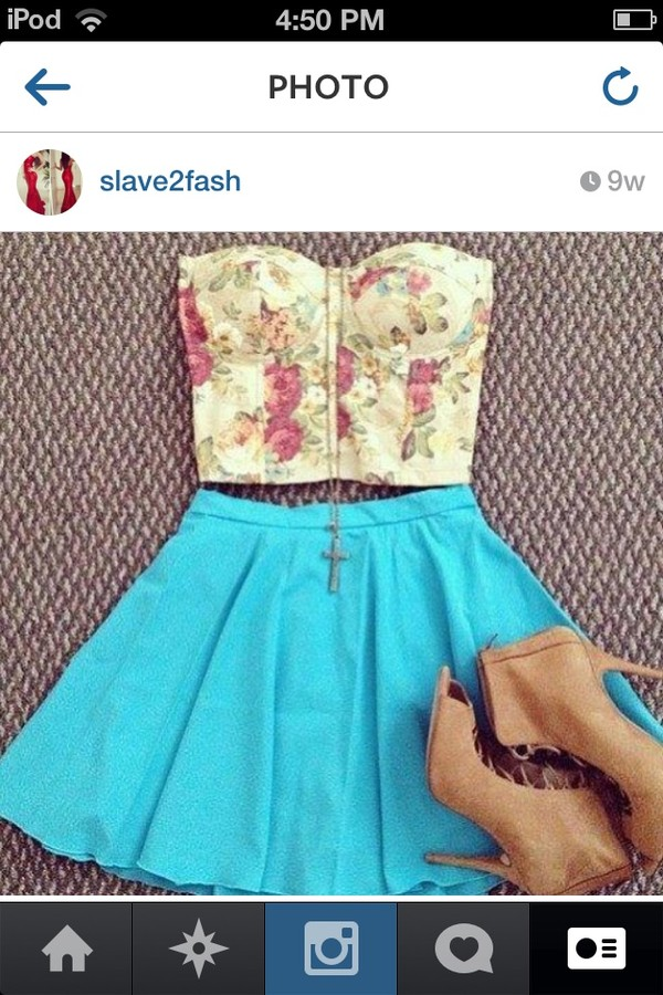 shirt shoes skirt jewels blouse