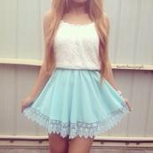 blouse,blue skirt bottom lace,white floral top,skirt