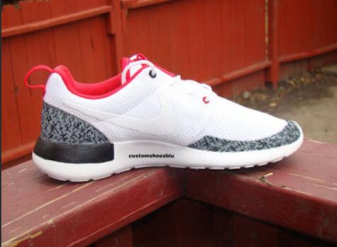 purchase cheap e119f e69dd SALE- Custom White Nike Roshe Run- Air Jordan White Cement Elephant Black  Print Gray Red White ...