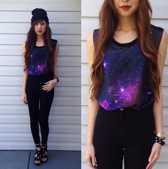 shirt galaxy tank top tee clothes highwaisted jeans beanie heels