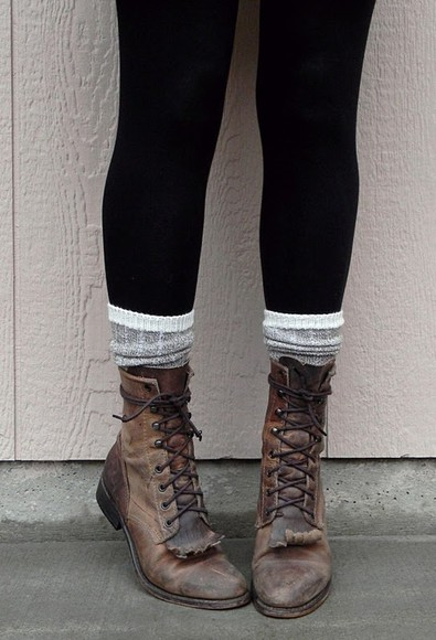 shoes boots grunge old vintage brown leather shoe love laces fringe tassel socks hipster clothes combat cute combat boots