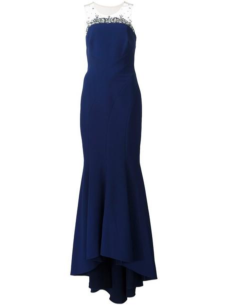 Marchesa Notte gown women embellished blue dress