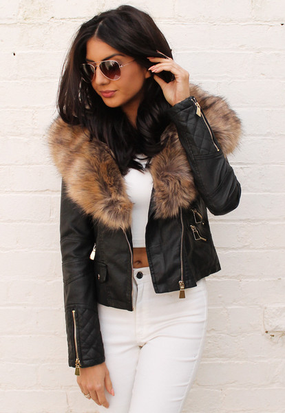 Fur Collar Leather Look Biker Jacket with Quilted Panels in Black