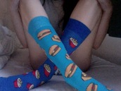 shoes,socks,french frie,hamburger,underwear,cute,fast food,tumblr,pale,light blue,accessories,pretty,fries,clothes,sox,food,fashion