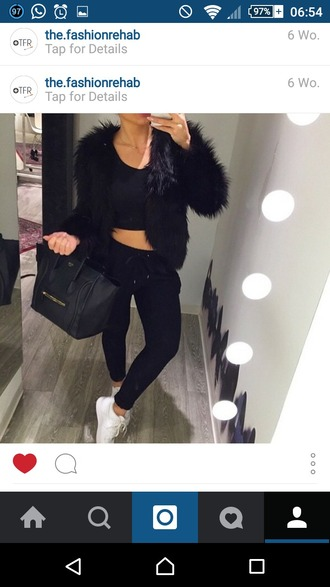 pants black all black everything white shoes faux fur celine bag joggers