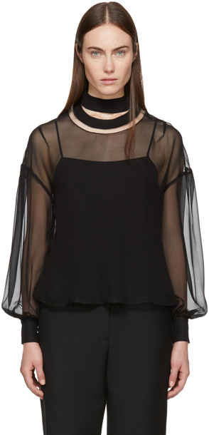 Fendi blouse black silk top