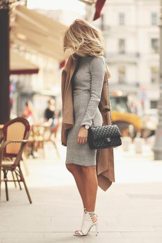 dress skirt sweater top wool grey