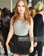 tanya burr,topshop,grey top,skirt,black skirt,mini skirt