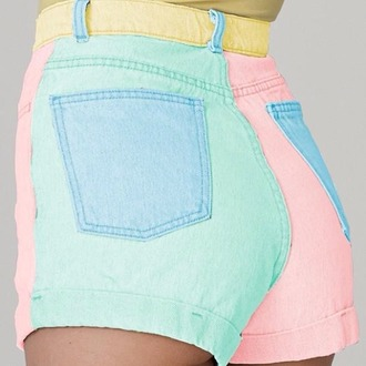 shorts multicolor rainbow pockets high waisted shorts h&m forever 21