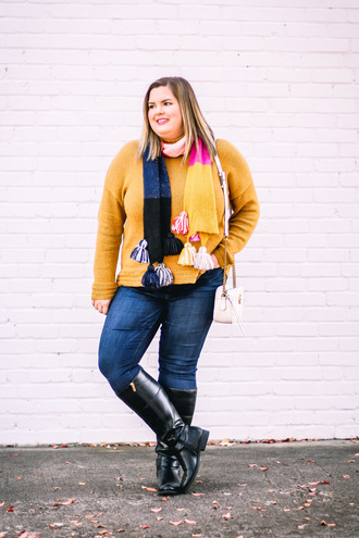 stylishsassy&classy blogger sweater scarf jeans shoes bag fall outfits plus size boots gucci bag white bag yellow sweater