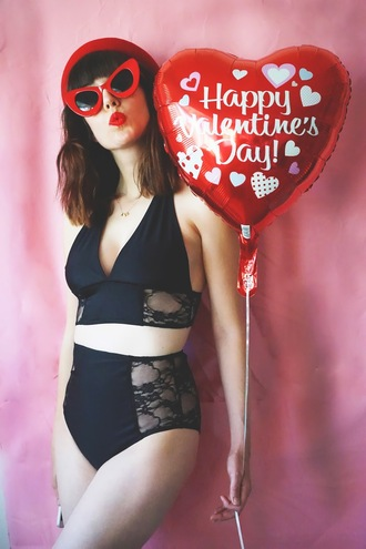 a fashion nerd blogger underwear red sunglasses cat eye high waisted bikini lace lingerie