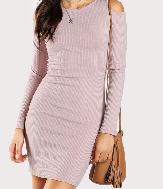 dress girly knit bodycon dress bodycon long sleeves long sleeve dress cut-out cold shoulder