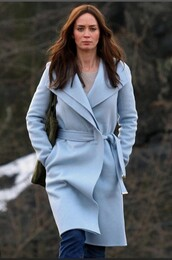 coat,powder blue coat,girl on the train,emily blunt
