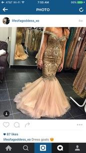 dress,mermaid prom dress,prom dress,prom,gold,pink,pretty,cute,sexy