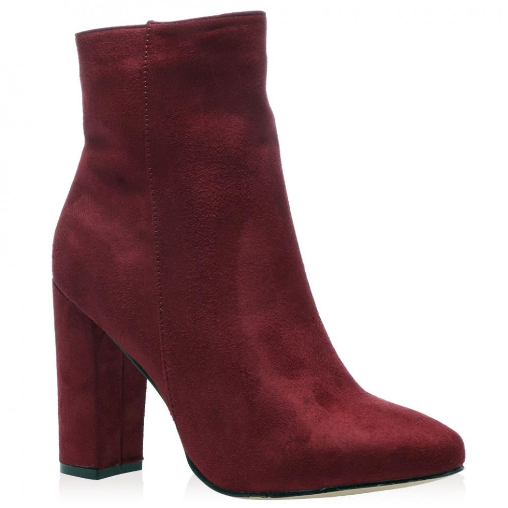 presley ankle boots in bordeaux faux suede. Black Bedroom Furniture Sets. Home Design Ideas