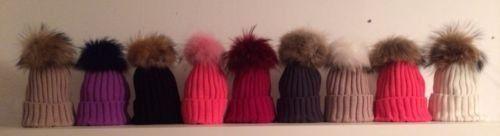 Luxury Knitted Beanie Hat With Detachable 19CM Real Raccoon Fur Pom Pom | eBay