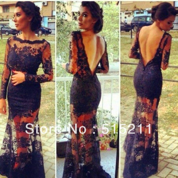 Long Sleeves Open Back See Through Black Lace Mermaid Evening Dresses Prom Gowns 2014 New  Arirval Vestidos Formales-in Evening Dresses from Apparel & Accessories on Aliexpress.com
